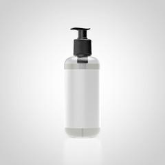 transparente Kosmetikflasche mit weißem Ettikett