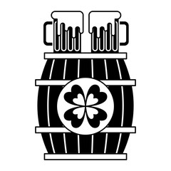 wooden barrel with two beer and clover vector illustration black and white image