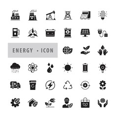 Energy icon set Vector Illustration, Eco green icons, icons modern design style