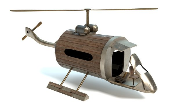 3d illustration of a steampunk helicopter