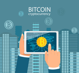 Hands with tablet with bitcoin symbol on urban background.Concept of mobile application with wallet for bitcoin and international global payments through the gadgets. Vector illustration.