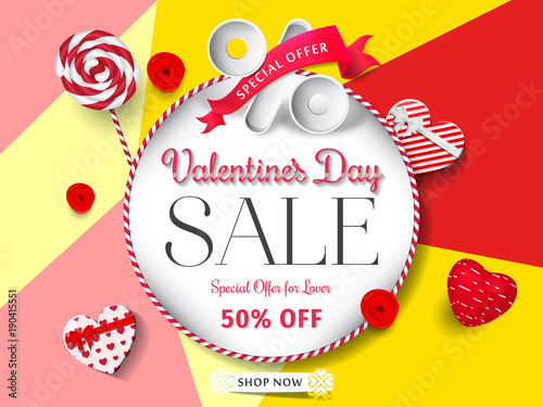 Valentines day sale card with frame special offer valentines day valentines day sale card with frame special offer valentines day sale promotion vector illustration stopboris Choice Image