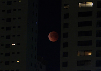 """A """"Super Blue Blood Moon"""" rises during a lunar eclipse in this picture taken from the Mexican side of the U.S.-Mexico border in Tijuana"""