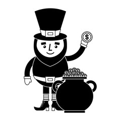 cartoon leprechaun holding gold coin and pot money st patricks vector illustration  black and white image