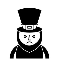 st. patricks day portrait of a angry leprechaun vector illustration  black and white image