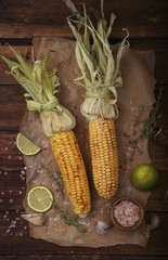 Roasted corn on the cob with lime and salt