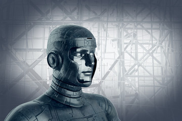 3D Illustration of the robot head Android, 3D render