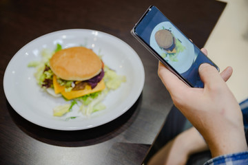 take picture of the fast food on the phone