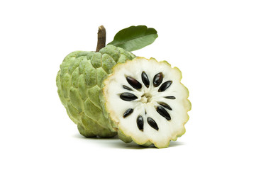 Custard apple or sugar apple with slice and green leaf isolated on white background, exotic tropical Thai annona or cherimoya fruit, healthy food