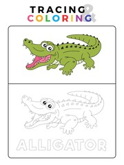 Funny Alligator Crocodile Animal Tracing and Coloring Book with Example. Preschool worksheet for practicing fine motor and color recognition skill. Vector Cartoon Illustration for Children.