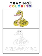 Funny Anaconda Snake Animal Tracing and Coloring Book with Example. Preschool worksheet for practicing fine motor and color recognition skill. Vector Cartoon Illustration for Children.