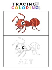 Funny Ant Insect Animal Tracing and Coloring Book with Example. Preschool worksheet for practicing fine motor and color recognition skill. Vector Cartoon Illustration for Children.