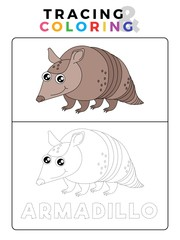 Funny Anteater Funny Armadillo Animal Tracing and Coloring Book with Example. Preschool worksheet for practicing fine motor and color recognition skill. Vector Cartoon Illustration for Children.