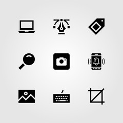 Web Design vector icon set. image, keyboard, photo camera and magnifying glass
