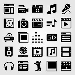 Multimedia vector icon set. clapperboard, sound bars, man and film roll