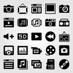 Multimedia vector icon set. photo, volume, frame and movie player