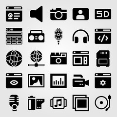 Multimedia vector icon set. browser, music player, user and analytics