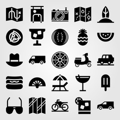 Summertime vector icon set. car, suitcase, pineapple and sun umbrella