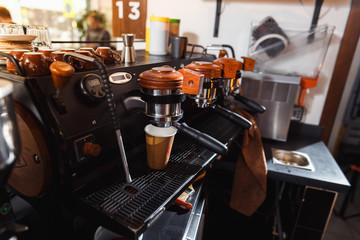 Making a espresso and cappuccino.