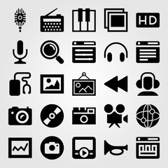 Multimedia vector icon set. hd, loupe, internet and keyboard