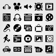 Multimedia vector icon set. compact disc, compact disk, football player and movie player