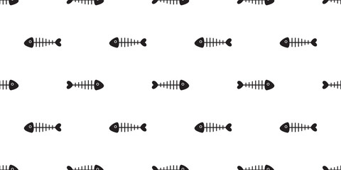 fish bone seamless pattern vector shark fin isolated wallpaper background