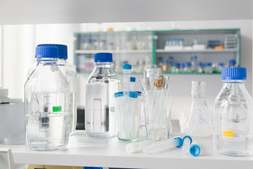 Flasks and bottles in laboratory
