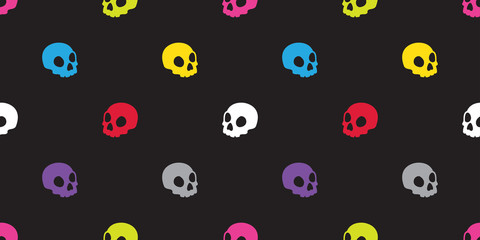 Skull seamless pattern Halloween isolated bone skeleton Ghost icon colorful pop art wallpaper background