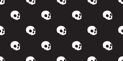 Skull seamless Halloween vector pattern isolated bone skeleton Ghost icon wallpaper background