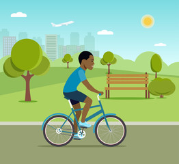 Man afro american riding a bicycle in the park. Vector flat illustration.