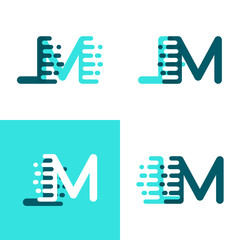 LM letters logo with accent speed in light green and dark green
