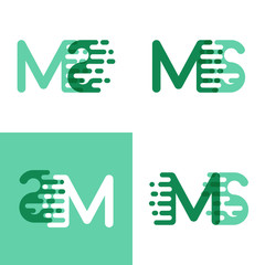MS letters logo with accent speed in light green and dark green