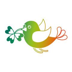 bird flying with clover in beak vector illustration degraded color design