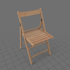 Open wooden folding chair