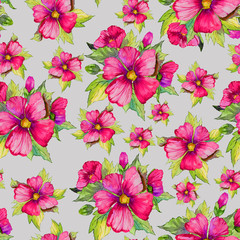 Bright pink malva flowers with green buds and leaves on light grey background. Seamless floral pattern.  Watercolor painting. Hand drawn illustration.