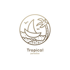 Logo boat in tropics