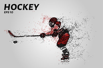 Hockey player in red uniform. Hockey from the particles.