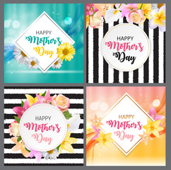 Happy Mother s Day Cute Background with Flowers Collection Set Cards. Vector Illustration
