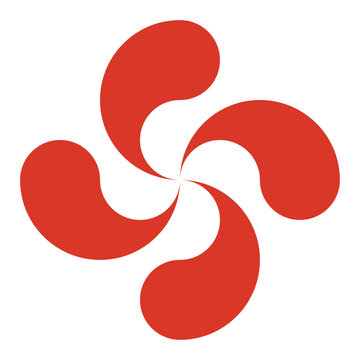 The lauburu or Basque cross, a traditional swastika with four comma-shaped heads. Vector icon.