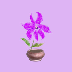 Vector watercolor illustration of a little flower in a brown pot on a pink background