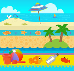 Ocean Pattern - Cute coastal pattern with beach and ocean elements. Eps10