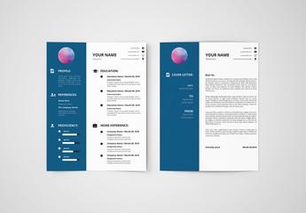 Resume Set with a Dark Blue Sidebar 1
