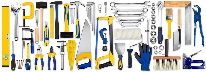 hand tool diy set collection isolated on white background / Werkzeug handwerkzeuge heimwerker sammlung isoliert hintergrund weiß