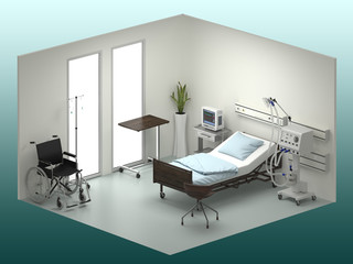 Hospital room isometric