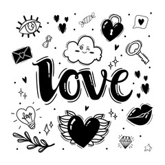 Set of black and white elements for design on Valentines Day or wedding. Valentine's Day theme doodle set. Traditional romantic symbols