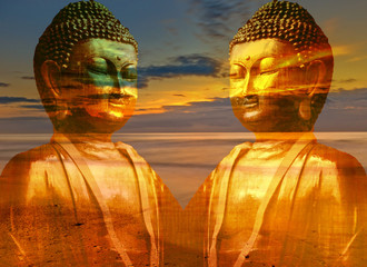 A buddha with the sea at sunset background