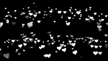Red small hearts flying on the black background. Valentines Day holiday abstract loop animation. Animation of hearts on a black background