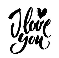 Lettering I love you calligraphic font, hand drawing. Individual font. Declaration of love. Twisted inscription.