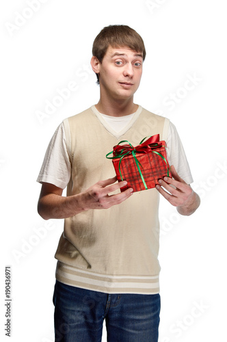 A Nice Young Man Received Birthday Present The Guy Gives Gift For Valentine S