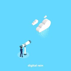 man in business suit looking through telescope on data cloud, isometric image